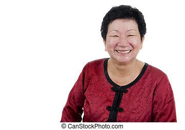 älter, woman., glücklich