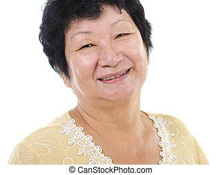ältere frau, asiatisch