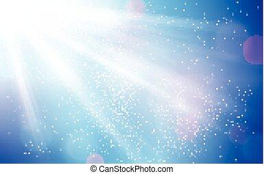Ändern Sie den blauen Himmel mit Sonnenstrahlen und verschwommenen Lichtpunkten