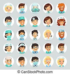 Ärzte Zeichentrickfiguren Icons set2