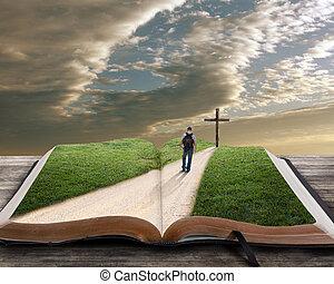 Öffnen Sie die Bibel mit Menschen und Kreuz