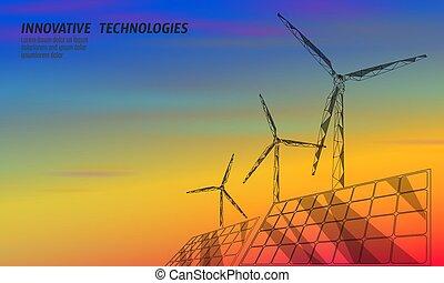 ökologie, einsparung, electricity., poly, design, turbine, blaues, windmühlen, macht, himmelsgewölbe, polygonal, niedrig, orange, grün, geometrisch, rotes , erzeugen, bunte, abbildung, environment., sonnenkollektoren, erneuerbar, vektor, sonnenuntergang, ausschüsse