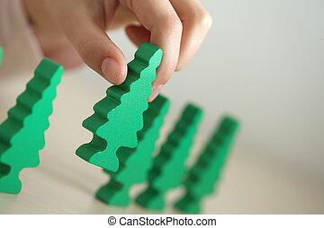 ökologie, hölzern, baum, grün, kind spielen, concept: