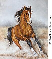 Ölmalerei eines Pferdes auf der Prärie.