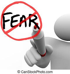 Über die Angst hinwegzukommen - der Mensch zeichnet den Kreis und durchschneidet das Wort