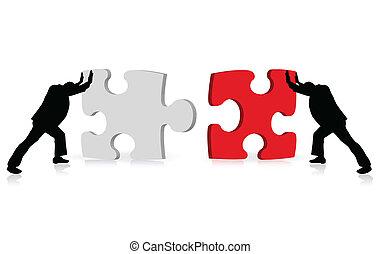 über, geschaeftswelt, erfolg, puzzel, illustriert, begriff, leistung, togetherness