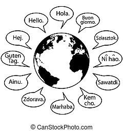 Übersetze die Erdsprachen, sag hallo Welt