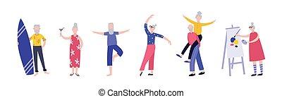 -, aktive, karikatur, haben, freigestellt, altes , satz, leute, spaß, wohnung