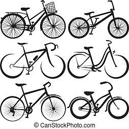 -, fahrrad, silhouette, skizzen