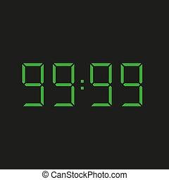 -, neun, 99:99, zahlen, datum, hintergrund, grün, elektronisch, vier, uhr, wiederholen, neunzig, schwarz