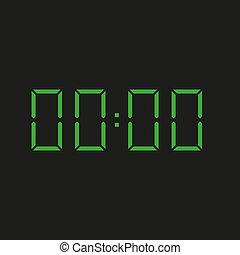 -, zahlen, grüner hintergrund, elektronisch, vier, schwarz, uhr, zeit, wiederholen, 00:00, nil, null
