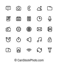 1, schnittstelle, ikone, satz, benutzer