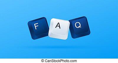 )., 10, buttons., wort, (, faq, eps, abbildung, keys., geschrieben, vektor, fragen, tastatur, frequently, edv, fragte