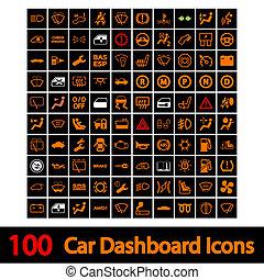 100 Armaturenbrett-Ikonen.