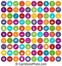 100 Kampffahrzeuge Symbole setzen Farbe.
