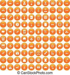 100 Kampffahrzeuge Symbole sind orange.