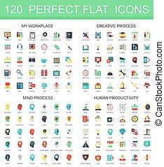 120 modernes Flachbild-Symbol, kreativer Prozess, Bewusstseinsprozess, menschliche Produktivitäts-Icons.