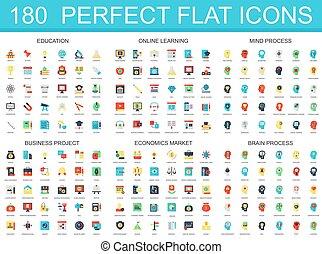 180 modernes Flachbild-Symbol von Bildung, Online-Lernen, Gehirnprozess, Business-Projekt, Wirtschafts-Markt Icons.