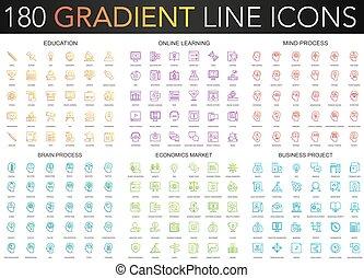 180 trendy Gradient Vektor dünne Linie Icons von Bildung, Online-Lernen, Gehirnprozess, Business-Projekt, Wirtschaftsmarkt Icon.