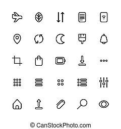 2, schnittstelle, ikone, satz, benutzer