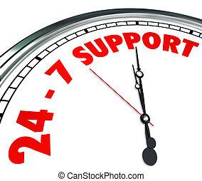 24 7 Support-Wörternummern Uhr Kundenservice immer geöffnet.