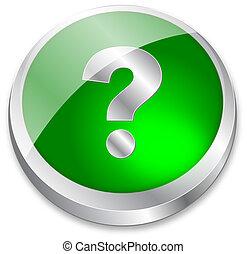 3-D-Fragezeichen-Knopf auf Grün