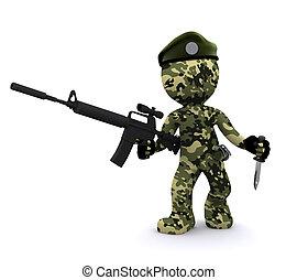3 D-Soldaten simsuriert mit Tarnung