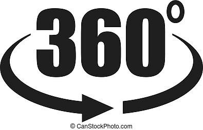 360, ansicht, grad, ikone