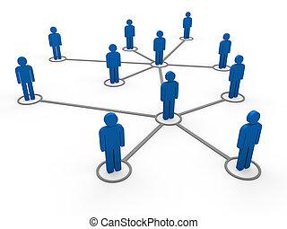 3d blaues Netzwerkteam