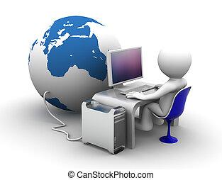 3D-Figuren, die am Computer an der Globe arbeiten