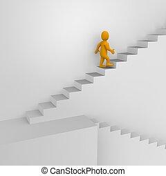 3d, geleistet, illustration., mann, treppe.