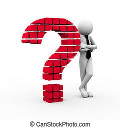 3D Geschäftsmann und Fragezeichensymbol