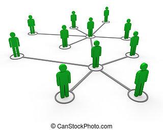 3d, grün, vernetzung, mannschaft