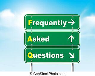 3d häufig gestellte Fragen Straßenschild.