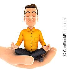 3D Hand hält Mann, der Yoga macht.