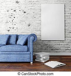 3D Innenausstattung mit Couch und leerem Poster.