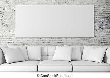 3D Inneneinrichtung mit Couch und Bl.