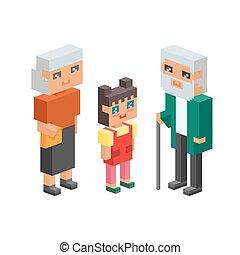 3D isometrische Familie.