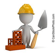 3d kleine Leute - Bauarbeiter im Helm
