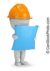 3D kleine Leute - Bauarbeiter mit dem Plan