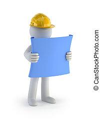 3D kleine Leute - Bauarbeiter mit dem Plan.