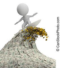 3d kleine Leute - eine Welle des Geldes
