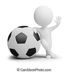 3d kleine Leute - Fußballspieler mit dem großen Ball
