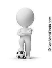 3d kleine Leute - Fußballspieler mit einem Ball