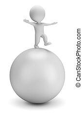 3d kleine Leute - Gleichgewicht auf dem Ball
