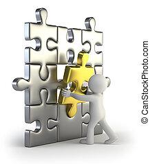 3d kleine Leute - goldene Puzzle-Einlage.