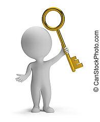 3d kleine Leute - goldener Schlüssel