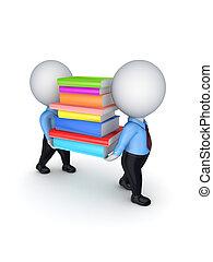 3d kleine Leute mit bunten Büchern.