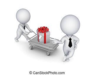 3d kleine Leute mit einem Geschenkkasten.