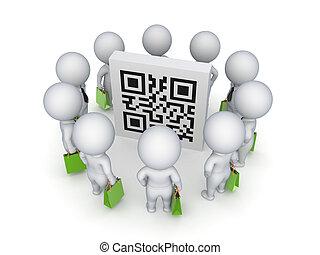 3D kleine Leute mit grünen Taschen um den QR-Code.